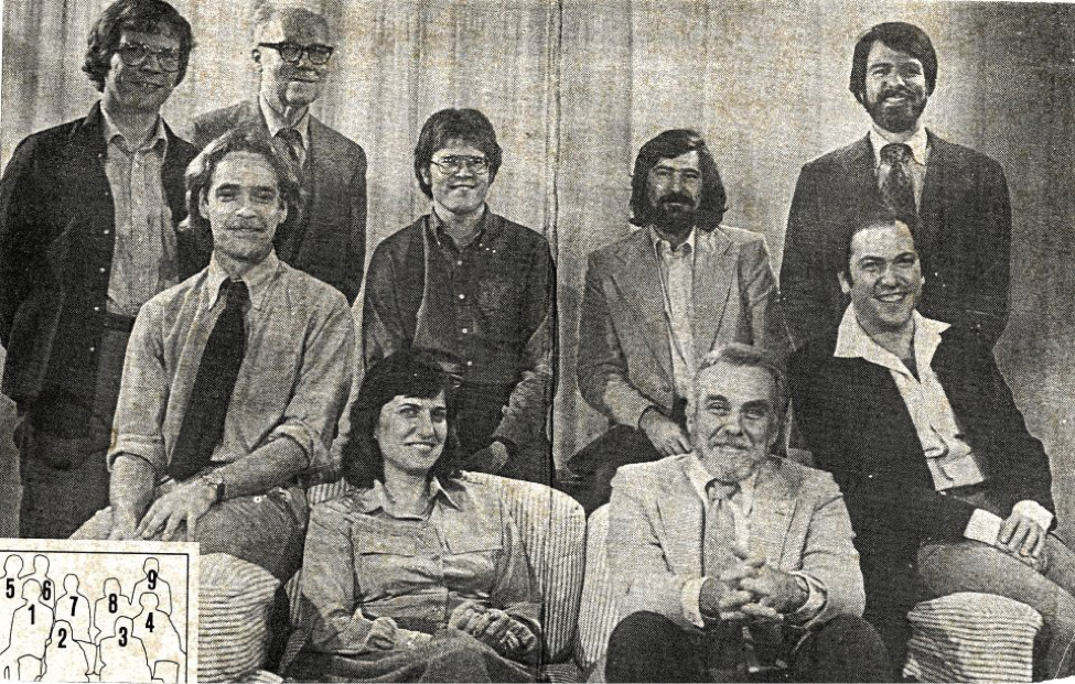 Texas Advertising faculty in 1974. 1. Terry Witcowski, 2. Isabella Cunningham, 3. Len Rubin, 4. Richard Zackon, 5. Jim Larson, 6. Ernest Sharpe, 7. Andy Hardy, 8. Ron Faber, 9. John Murphy