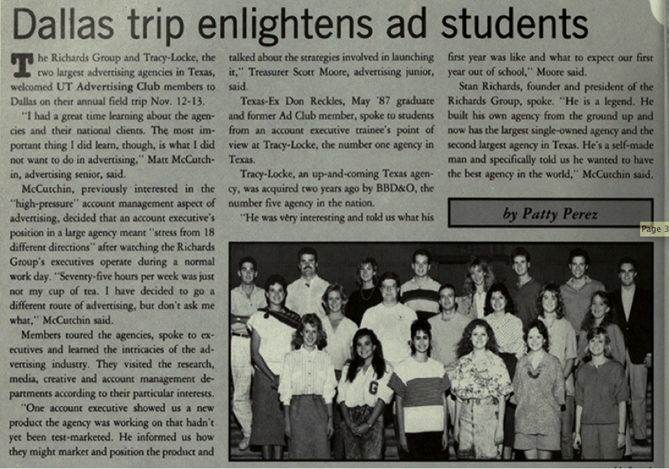 A 1988 UT Advertising Club trip to Dallas to tour local ad agencies Tracy-Locke and The Richards Group.