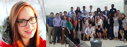 Jillian Garzon's portrait and the large group of IBM interns
